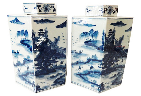 Hexagonal Blue and White pair of Vases