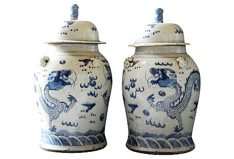 Blue & White Ginger Jars, Pair