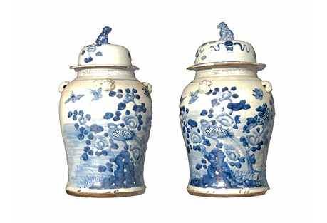 Blue & White Porcelain Ginger Jars, Pr