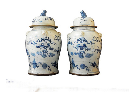 Large B & W Ginger Jars