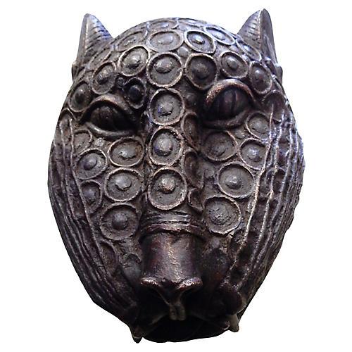 African Benin Bronze Leopard Head