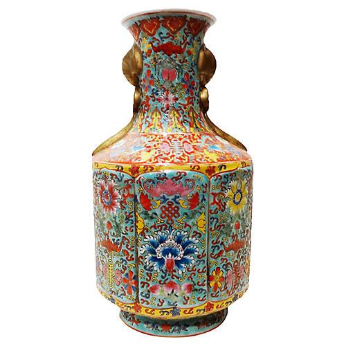 Famille Verte Enamel Vase