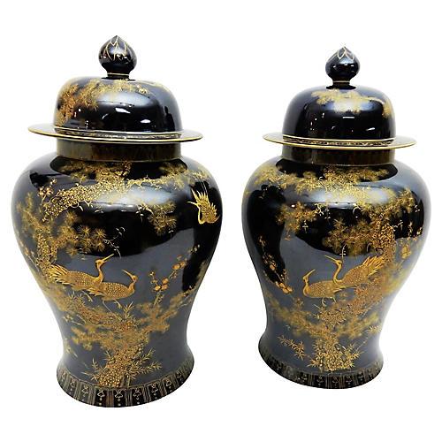 Famille Noire Ginger Jars, S/2