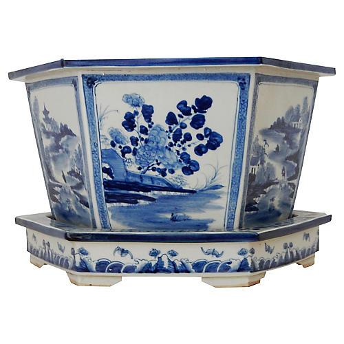 Blue & White Jardinière, 2 Pcs