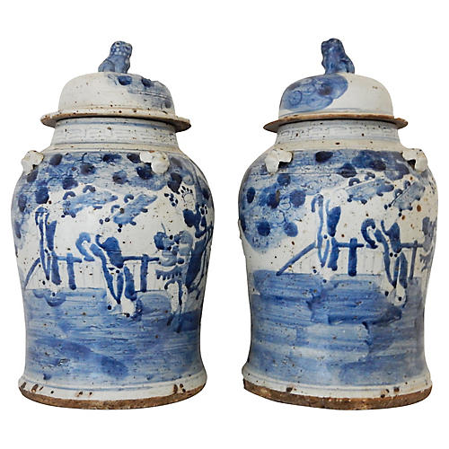 Lidded B & W Ginger Jars Pair
