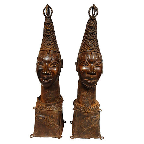 1980s Bronze Benin Heads, S/2