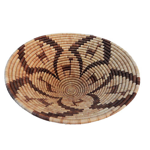 Vintage Botswana Palm Leaf Basket Bowl 1