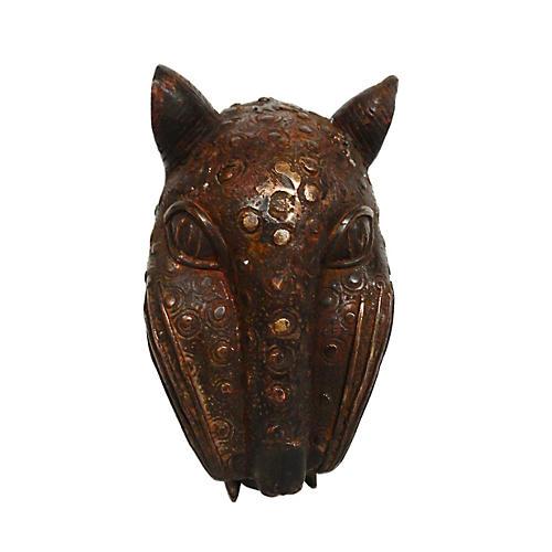 1980s Benin Bronze Leopard Head
