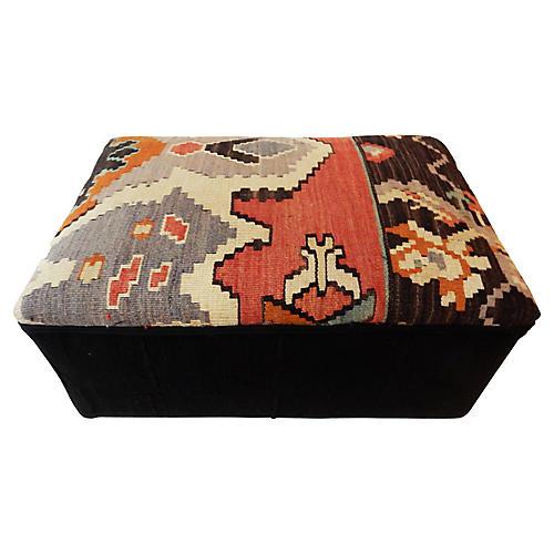 Tribal Kilim Rug & Mud Cloth Ottoman