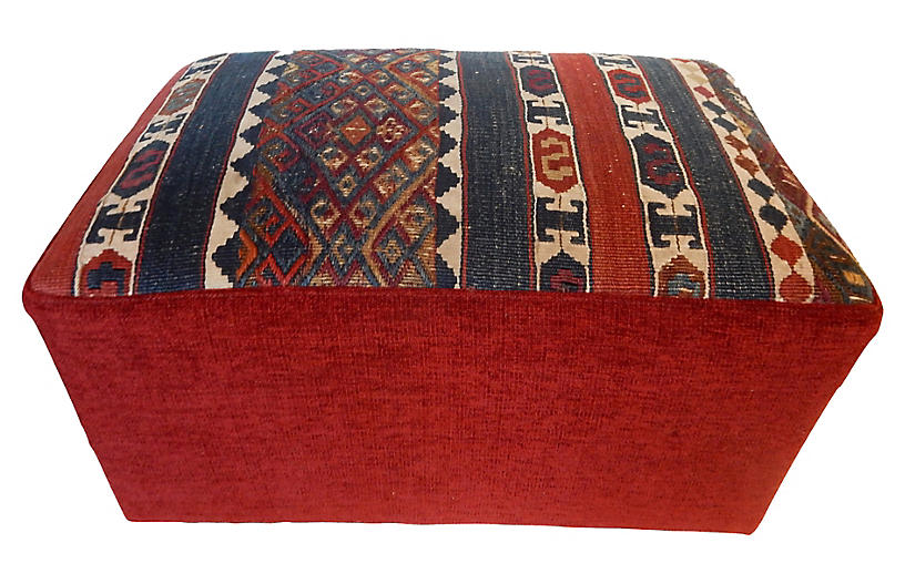 19th-C. Kilim Ottoman