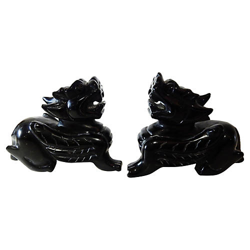 Black Obsidian Stone Fortune Dogs, Pair