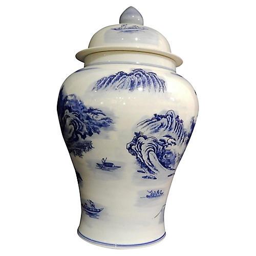 Blue & White Ginger Jar w/ Scenery