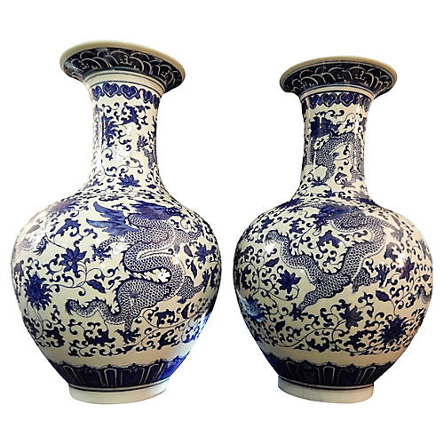 Blue & White Dragon Vases, S/2