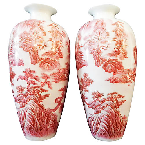 Famille Rose Pair Of Vases