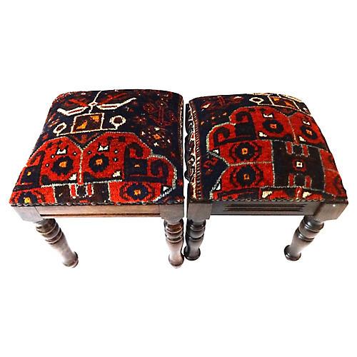 Antique Qashqai Rug Stools, S/2