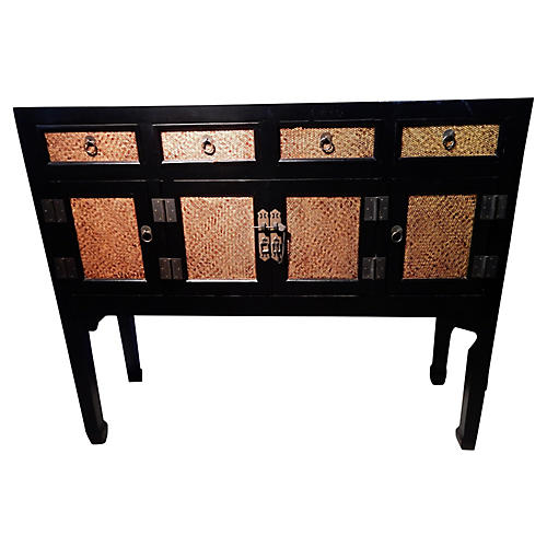 Chinese Wood & Rattan Sideboard
