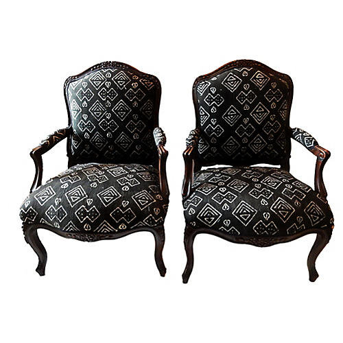 French Mud-Cloth Armchairs, Pair