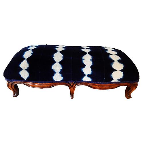 Antique French Double Footstool w/Indigo