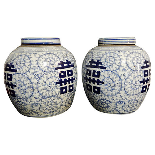 Double Happiness Ginger Jars, Pair