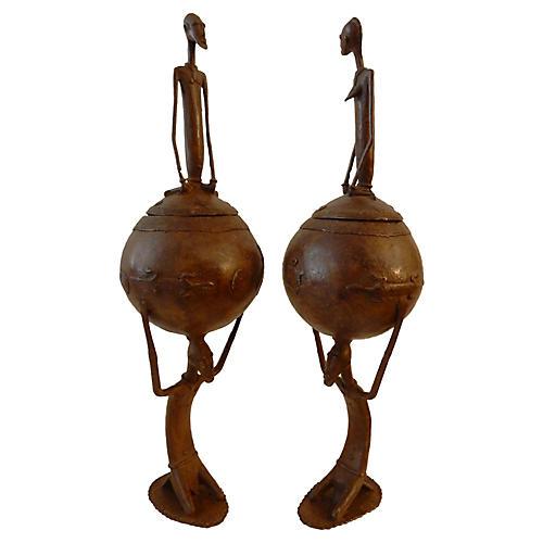 Dogon Ceremonial Bronze Bowls, S/2