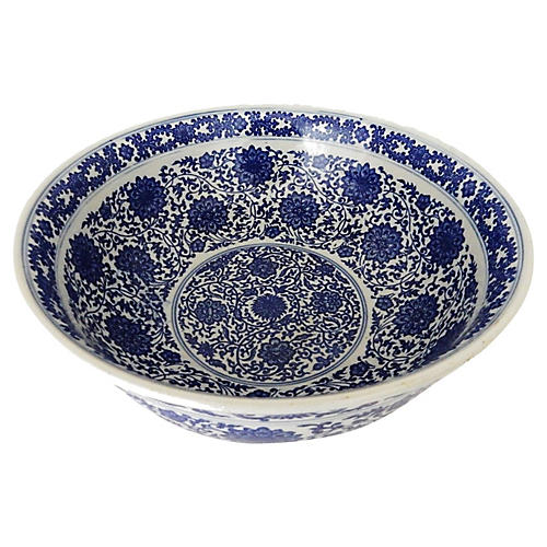 Large Blue & White Round Bowl