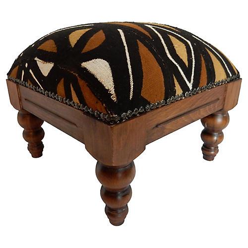 African Mud-Cloth Footstool