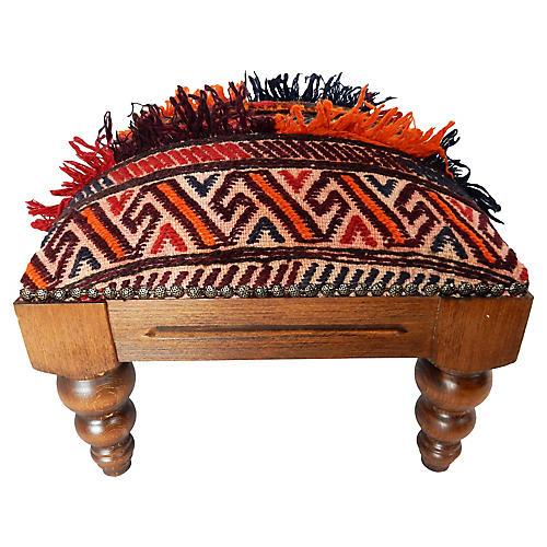 Antique Tribal Afghan Rug Footstool