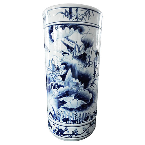 Hand-Painted Blue & White Umbrella Stand