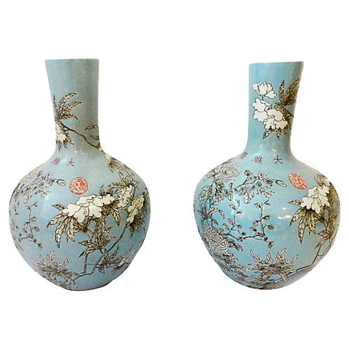 Famille Rose Onion-Shape Vases, S/2