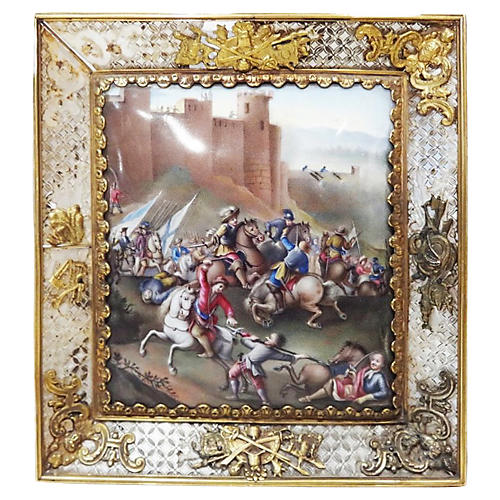 19th-C. French Enamel Battle Painting