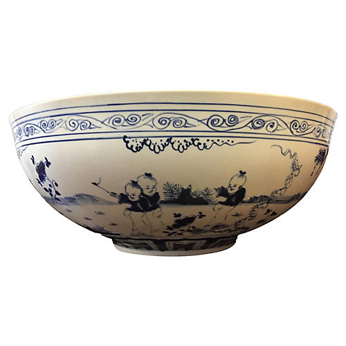 "LG Eggshell B & W Porcelain Bowl 17.75""D"