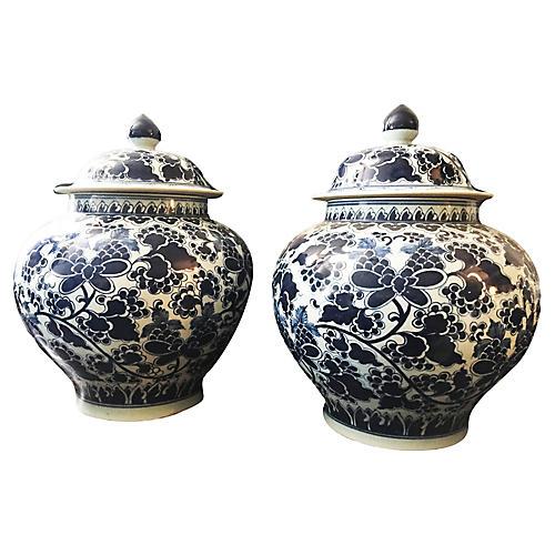 Blue & White Floral Ginger Jars, Pair