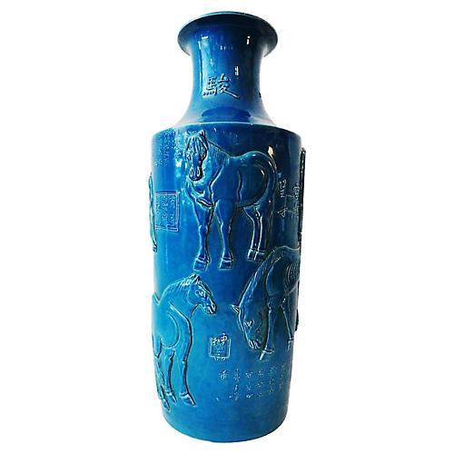Turquoise Porcelain Horses vase