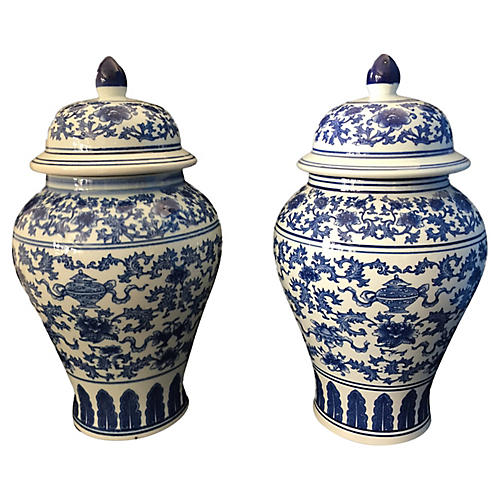 Blue and White Ginger Jars, Pair