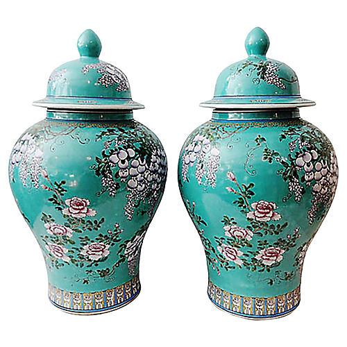 Famille Rose Porcelain Jars, S/2