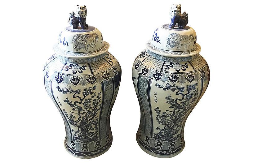 Oversize Chinoiserie Ginger Jars