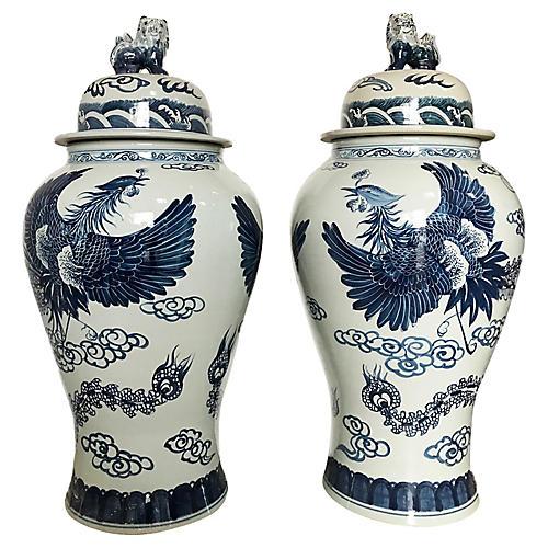 Chinoiserie Phoenix Ginger Jars, Pair