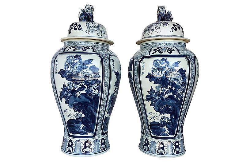 Blue White Ginger Jars Pair Decorative Jars Canisters Vases