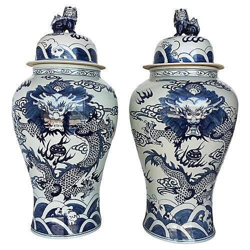 Oversize Blue & White Ginger Jars, Pair