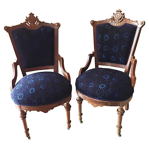 Victorian Accent Chairs, S/2