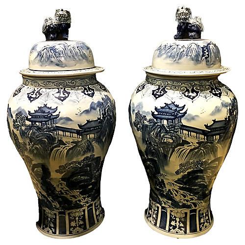Blue & White Ginger Jars, Pair