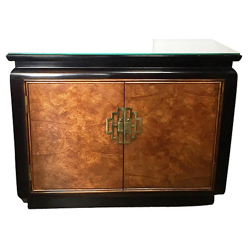 1920's Chinoiserie Burl Wood Cabinet
