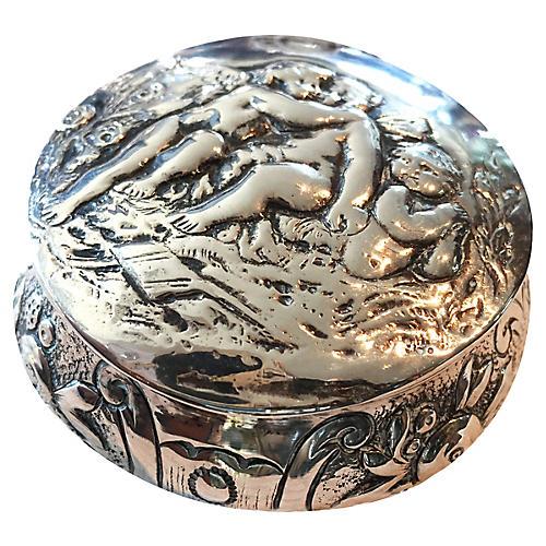 German Silver Cherub Box, C.1900