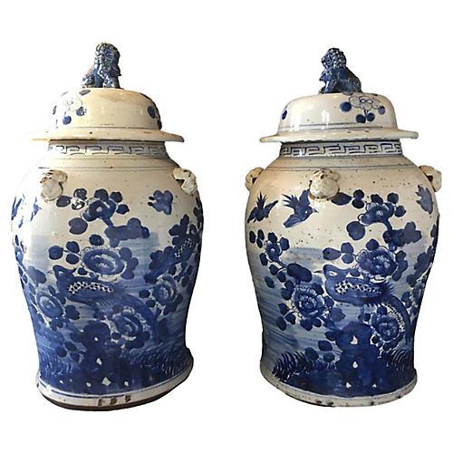 B & W Chinoiserie Ginger Jars, Pair