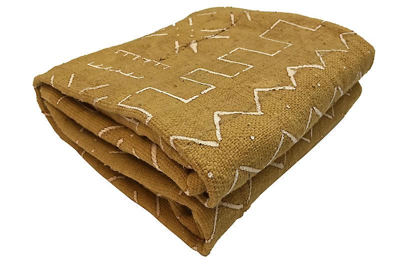 Mustard & White Mud-Cloth Textile