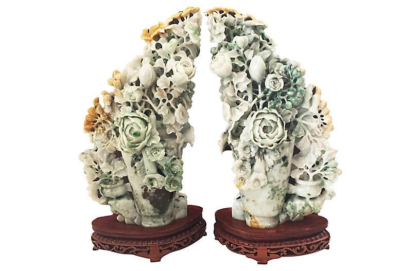 """16"""" Jadeite Peony Carvings, Pair"""