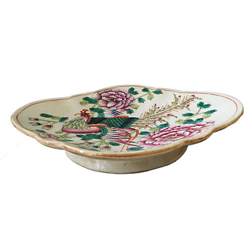 Old Famille Rose Footed Dish/Bowl
