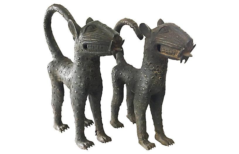 Benin Bronze Leopards, Pair