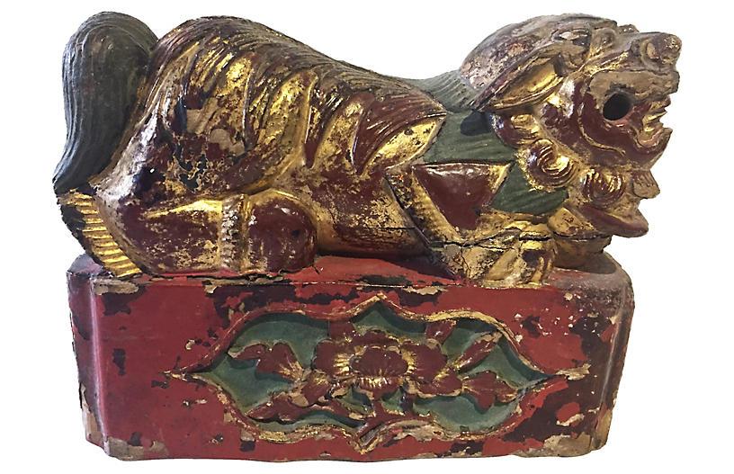 19th-C. Carved Wood Foo Dog