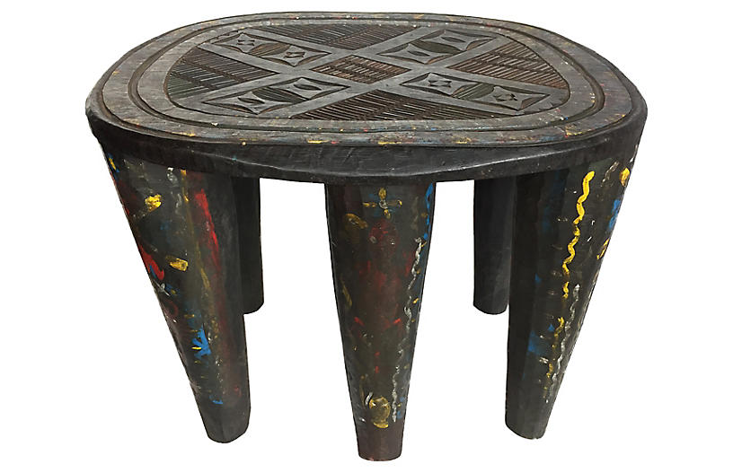 Large Colorful Nupe Stool Nigeria